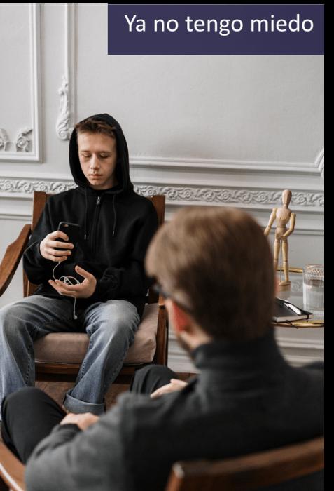 Ya no tendo miedo terapeuta hablando con cliente